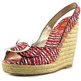 Roger Vivier Cordella Women Open Toe Canvas Multi Color Wedge Heel.