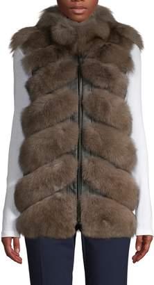 Belle Fare Fox Fur & Leather Vest