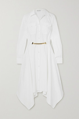 J.W.Anderson Asymmetric Chain-embellished Cotton-poplin Shirt Dress - White