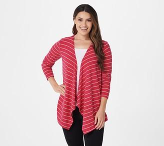 Denim & Co. Stripe Heavenly Jersey Long-Sleeve Drape Cardigan