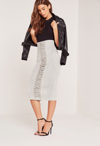 Missguided Lace Up Eyelet Faux Suede Midi Skirt Grey
