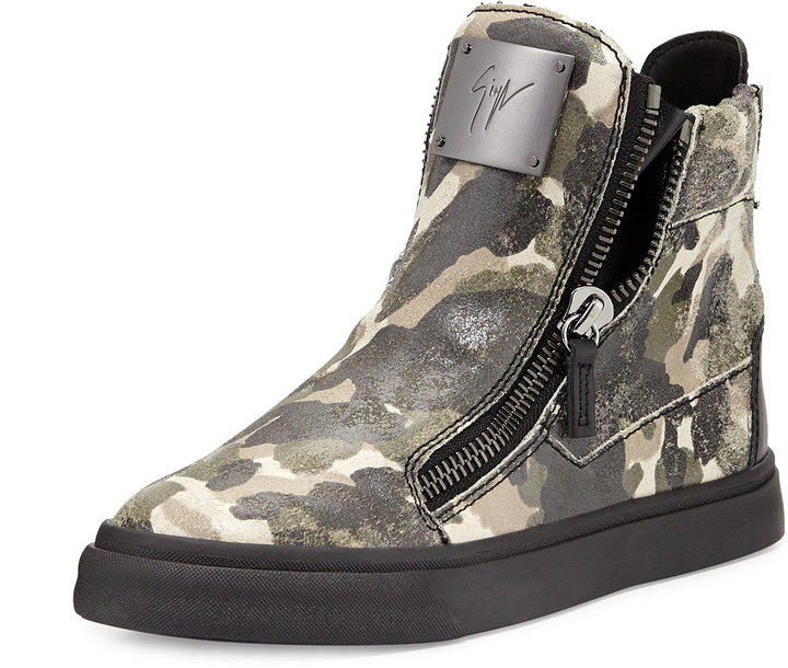 Giuseppe Zanotti Double-Zip Camo Leather Sneaker