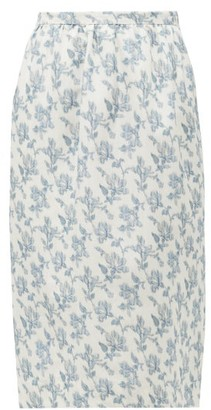 Brock Collection Floral-print Cotton-blend Twill Skirt - Womens - White Multi