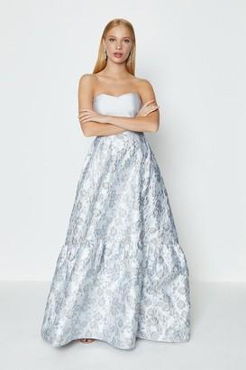 Coast Silver Jacquard Bandeau Maxi Dress