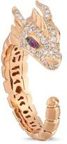 Dragon Optical Selda Jewellery Big Head With White Diamond & Pink Sapphire Ring