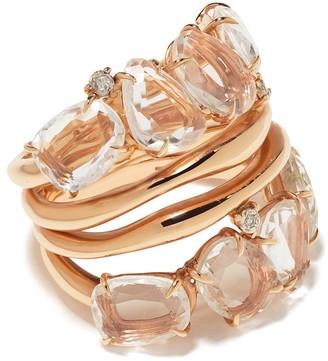 Brumani 18kt rose gold Confete e Serpentina diamond and quartz ring