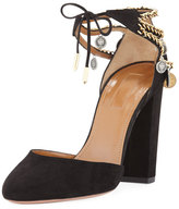 Aquazzura Flamenco Chained Suede Pump, Black
