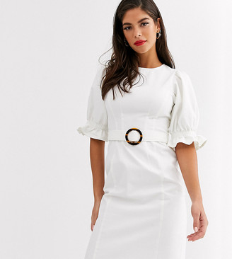 Asos Tall ASOS DESIGN Tall denim midi dress with puff sleeve in white