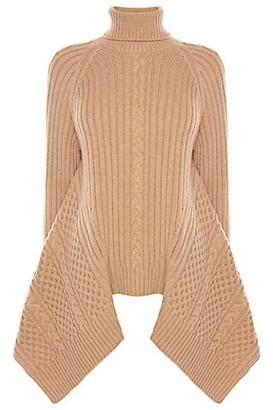 Alexander McQueen Wool & Cashmere Knit Flared Turtleneck Sweater