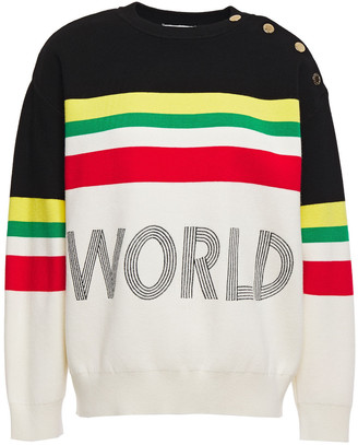 Sandro Ursulla Embroidered Striped Knitted Sweater