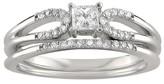3/8 CT. T.W. Princess-cut White Diamond Prong Set Bridal Ring Set in 14k White Gold (H-I, I1)