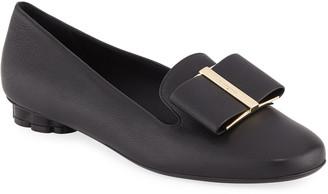 Salvatore Ferragamo Sarno Leather Bow Loafers