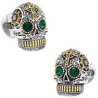 Cufflinks Inc. Sterling Silver and Gold Tone Day of the Dead Skull Cufflinks