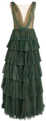 Marchesa Tulle Beaded Plunge-Neck Gown