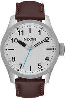 Nixon White Safari Dial Leather Strap Watch