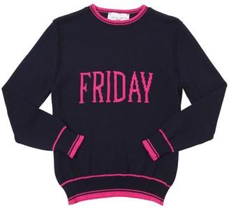 Alberta Ferretti Friday Intarsia Cotton Knit Pullover