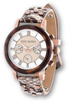 Steve Madden Women's Studded & Snake Printed Leather Strap Watch