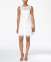 Betsy & Adam B&A by Lace Tulle Fit & Flare Dress