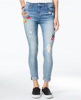 Vanilla Star Juniors' Ripped Skinny Jeans with DIY Patches