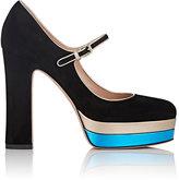 Valentino Women's Suede Mary Jane Platform Pumps-BLACK