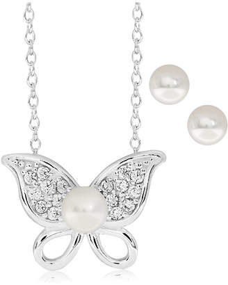 Children Butterfly Freshwater Pearl (8.5 mm) Earring Necklace Set in Sterling Silver