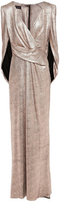 Talbot Runhof Rosin Cape-effect Metallic Stretch-jersey Gown