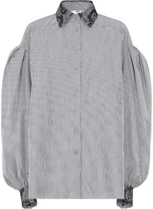 Fendi Striped Lace Print-Trim Shirt