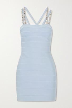 Herve Leger Swarovski Crystal-embellished Bandage Mini Dress - Blue