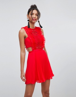 Asos Design Lace Pinafore Pleated Mini Dress-Red