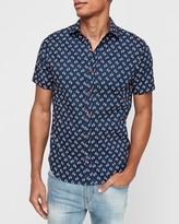 Express Slim Flamingo Print Short Sleeve Shirt