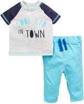 Ladybird Baby Boys Slogan S/s Tee And Woven Trouser Set