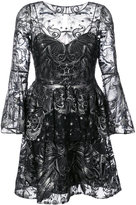 Marchesa sequin embroidered tulle dress - women - Nylon/Sequin - 0
