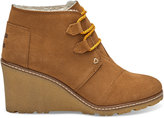 Toms Wheat Suede with Faux Crepe Women's Desert Wedge Booties