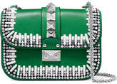 Valentino Garavani Lock Embellished Two-tone Leather Shoulder Bag - Green