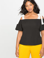 ELOQUII Plus Size Off the Shoulder Contrast Strap Top