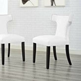 Catherine Upholstered Dining Chair Ebern Designs Color: Black, Upholstery: Vinyl