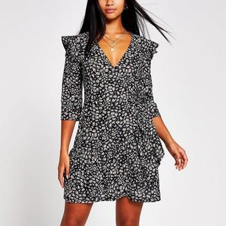River Island Petite black print frill hem wrap dress