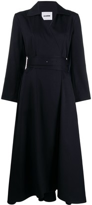 Jil Sander Belted Flared Midi Dress