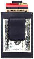 DKER DEEZOMO Genuine Leather Slim Card Sleeve Wallet with Money Clip and Smart Strap