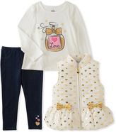 Kids Headquarters White & Gold Heart Vest Set - Infant, Toddler & Girls