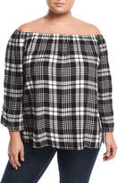 Chelsea & Theodore Plus Off-the-Shoulder Plaid Top