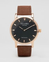 Reclaimed Vintage Inspired Suede Leather Watch In Tan