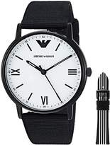 Emporio Armani Men's Quartz Stainless Steel and Nylon Dress Watch, Color:Black (Model: AR80004)