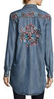 Tolani Tina Embroidered-Back Button-Front Shirt, Plus Size