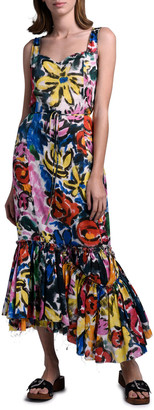 Marni Floral Print Asymmetric Hem Dress