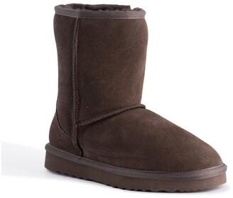 Aus Wooli Ugg Mid Calf Zip-Up Sheepskin Boot - Chocolate Chocolate