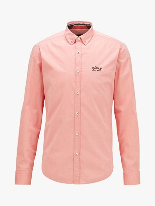 HUGO BOSS Biado Long Sleeve Shirt, Dark Orange
