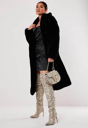 Missguided Premium Black Faux Fur Belted Coat