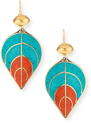 Devon Leigh Turquoise Coral Leaf Earring