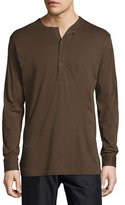 Helmut Lang Collarless Long-Sleeve Polo Shirt, Olive